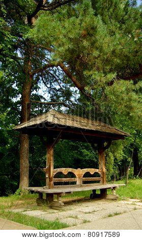 Traditional bench, National Village Museum, Bucharest, Romania.