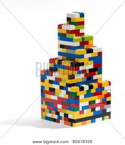 Tower Built Of Colorful Plastic Building Blocks
