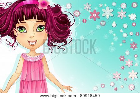 Floral Background With A Young Girl In A Pink Dress