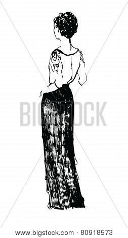 Sketch Girl In A Dress View From The Back