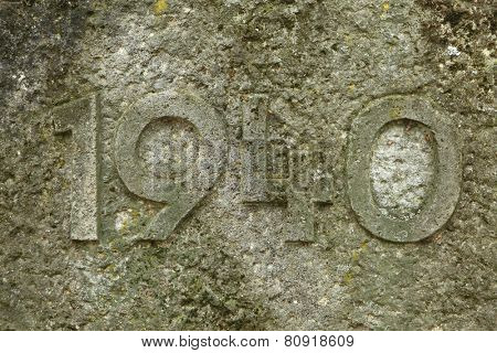 Year 1940 carved in the stone. The years of World War II.