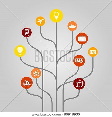 Abstract icon tree illustration - tourism, travel, traffic and transportation concept
