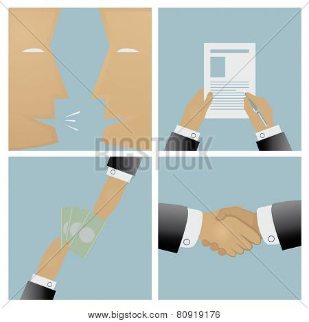 The sale process and conclusion of the contract vector illustration
