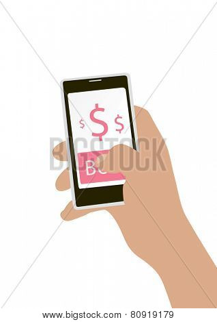 Hand holing smart phone with buy button on the screen. E-commerce flat design concept.