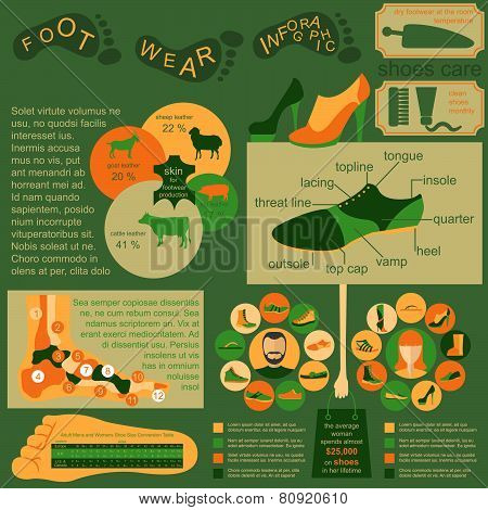Footwear infographics elements. Easily edited.