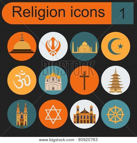 Religion icon set. Religious buildings.
