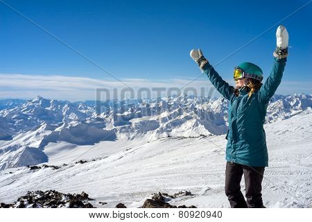 Happy Woman In The Mountains