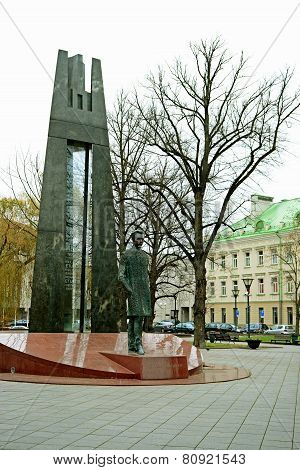 Vilnius City Centre Sculpture To Vincas Kudirka At Autumn Time