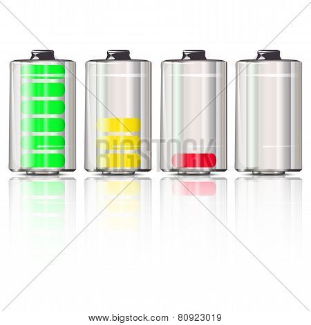 Battery With The Charges And Reflection
