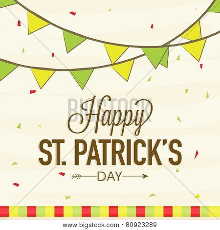 Elegant greeting card design with bunting decoration for Happy St. Patrick's Day celebration.