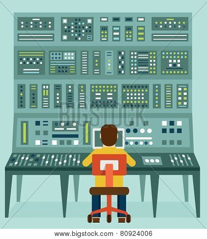 Flat Illustration Of Expert With Control Panel. Analytics And Management