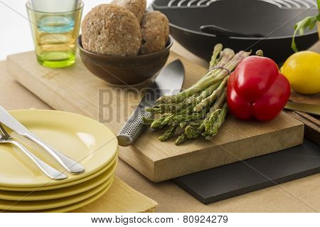 Preparing Dinner With Fresh Vegetables