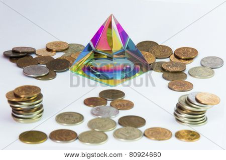 Pyramid and a lot of coins