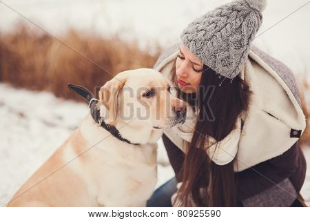 Woman And Her Labrador