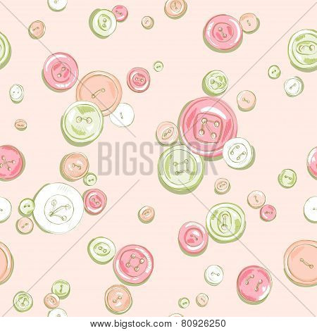 hand drawn buttons seamless pattern