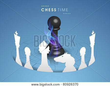 White chess pieces with pawn in center covered by flame on blue background.