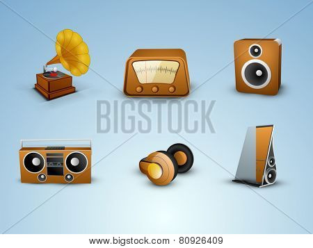 Set of Musical instrument on blue background.