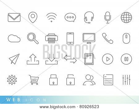Set of web mail and networking icons on white background for your business.