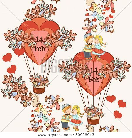 Seamless Pattern With Hearts And Air Balloons