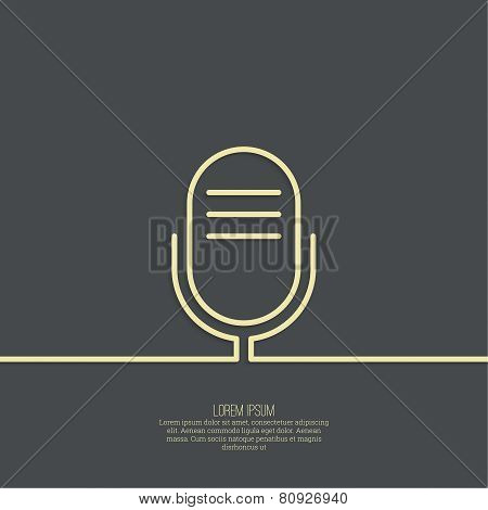 Abstract background with an old microphone