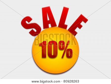 Discount coupon 10 percent on a yellow circle
