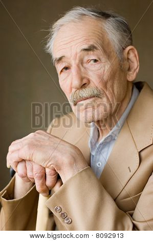 Old Man With Moustaches In A Jacket