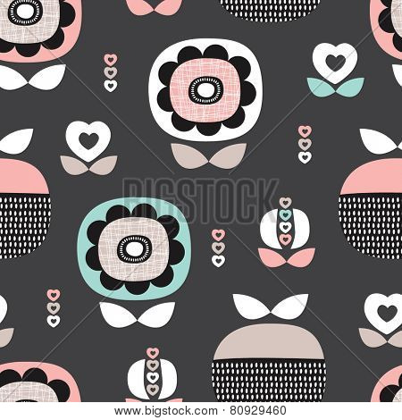 Seamless pastel poppy flowers and retro summer fruit abstract organic garden illustration background pattern in vector