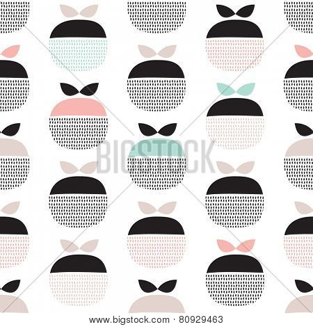 Seamless retro pastel fruit illustration Scandinavian style apple pattern background in vector