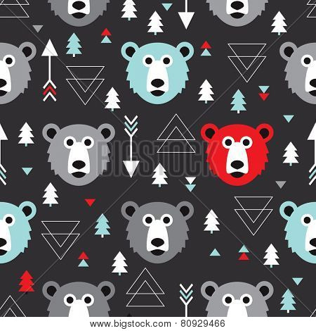 Seamless kids winter wonderland woodland grizzly bear illustration background pattern in vector