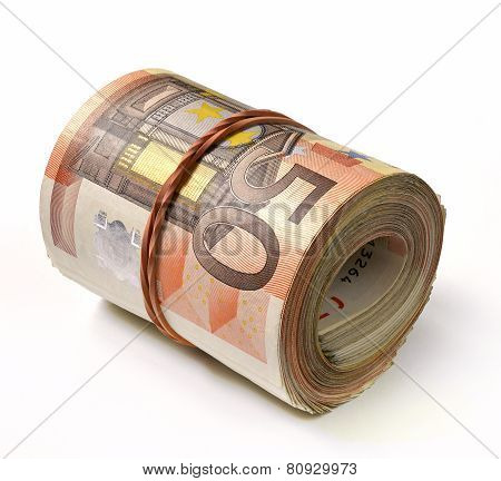 50 Euro Banknote Folded In A Roll