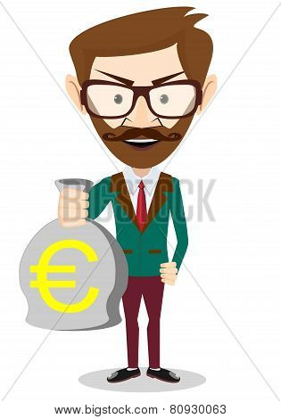 Successful Businessman or banker with a Bag of Gold Cash Euro. Vector Illustration