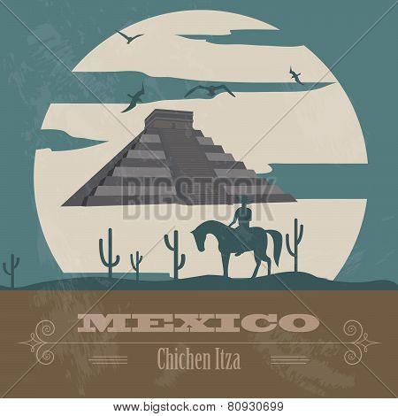 Mexico landmarks. Retro styled image