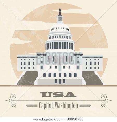 USA landmarks. Retro styled image