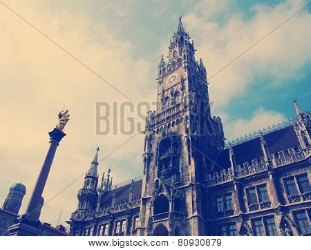 Building of Rathaus city hall in Munich, Germany