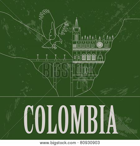 Colombia landmarks. Retro styled image.