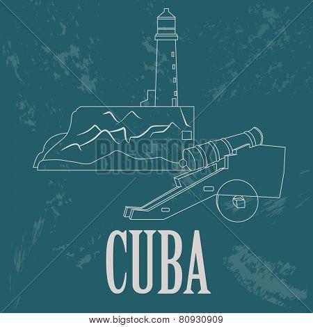 Cuba landmarks. Retro styled image