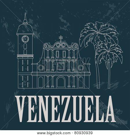 Venezuela  landmarks. Retro styled image