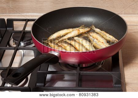 Fish Is Fried In A Pan