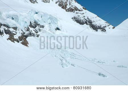 Ice And Snow Nearby Jungfraujoch In Alps In Switzerland
