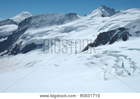 Crevasses, Ice And Snow Nearby Jungfraujoch In Switzerland
