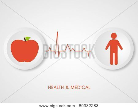 Illustration of a red apple and a human body connected with heart beat with stylish health and medical text.