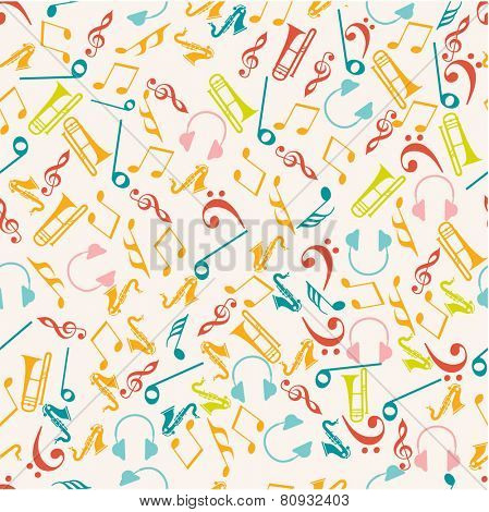 Seamless pattern of colorful musical instrument and musical notes.