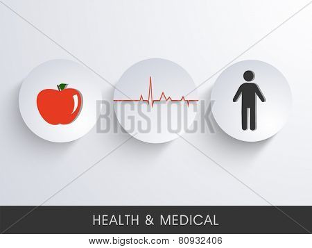 Illustration of a red apple and a human body connected with heart beat.
