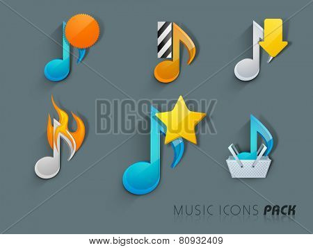 Colorful musical notes on grey background.
