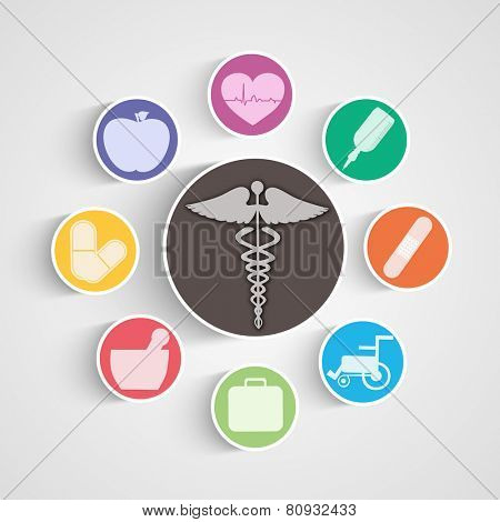 Illustration of medical equipments with symbol in center.