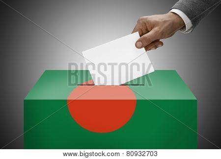 Ballot Box Painted Into National Flag Colors - Bangladesh