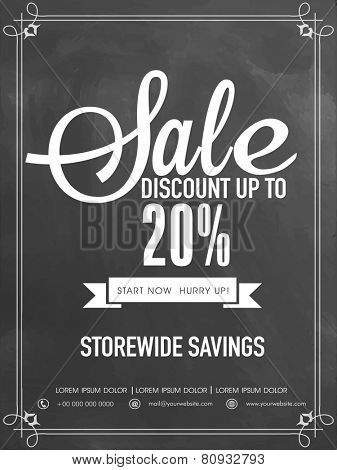 Sale and discount upto 20% off flyer, template or banner.