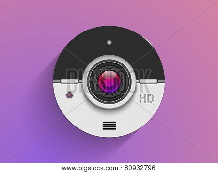 Photo camera lens on purple background.