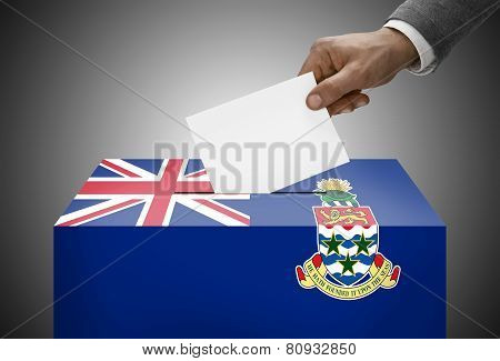 Ballot Box Painted Into National Flag Colors - Cayman Islands