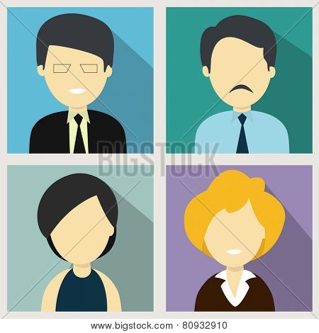 Character of young business men and women in formal dress.